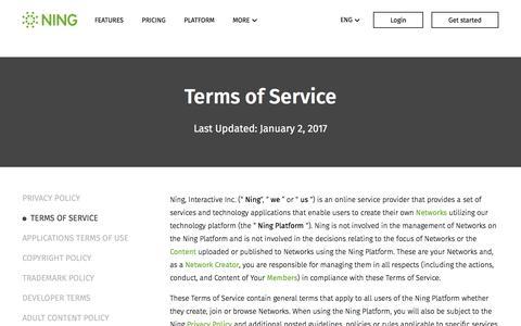 Screenshot of Terms Page ning.com - Terms of Service - Ning.com - captured April 9, 2017
