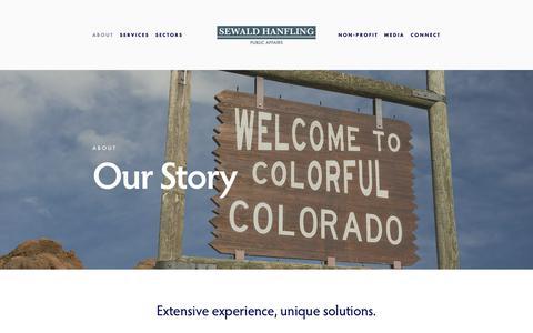 Screenshot of About Page sewaldhanfling.com - Our Story — Sewald Hanfling Public Affairs - captured Oct. 18, 2018
