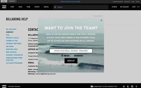 Screenshot of Contact Page billabong.com - Contact | Billabong US - captured Feb. 16, 2018