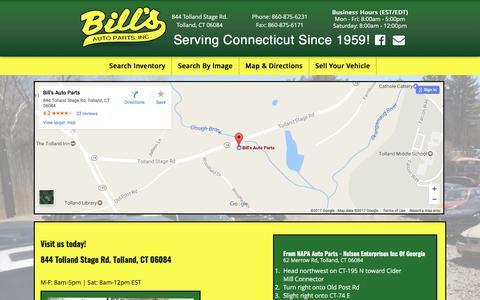Screenshot of Maps & Directions Page bills-autoparts.com - Bill's Auto Parts - captured June 1, 2017