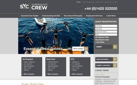 Screenshot of Home Page super-yachtcrew.com - Super Yacht Crew - The specialist superyacht recruitment agency - captured Oct. 7, 2014