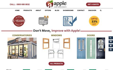 Screenshot of Home Page applehomeimprovements.co.uk - Apple Home Improvements: Conservatory & Double Glazing Window - captured April 26, 2018