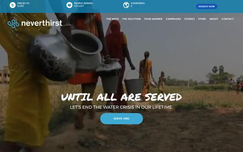 Screenshot of Home Page neverthirstwater.org - neverthirst | Clean Water Ministry - Let's End the Water Crisis - captured Oct. 20, 2017