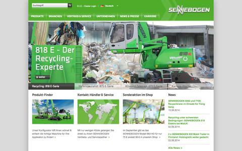 Screenshot of Home Page sennebogen.de - Home - SENNEBOGEN Maschinenfabrik GmbH - SENNEBOGEN Maschinenfabrik GmbH - captured Sept. 19, 2014