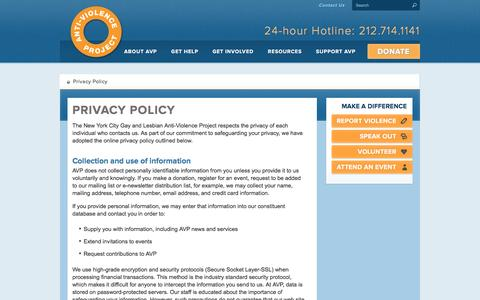 Screenshot of Privacy Page avp.org - Privacy Policy - AVP: The Anti-Violence Project - captured Feb. 15, 2016
