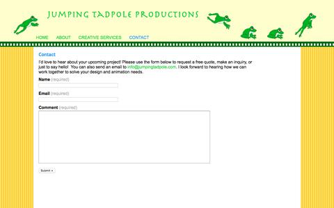 Screenshot of Contact Page jumpingtadpole.com - Contact | Jumping Tadpole Productions - captured Oct. 16, 2017