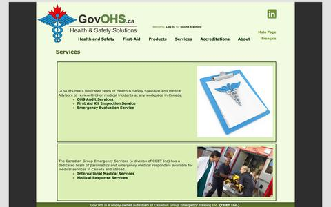 Screenshot of Services Page govohs.ca - ServicesServices | GovOHS.ca - captured Oct. 1, 2014