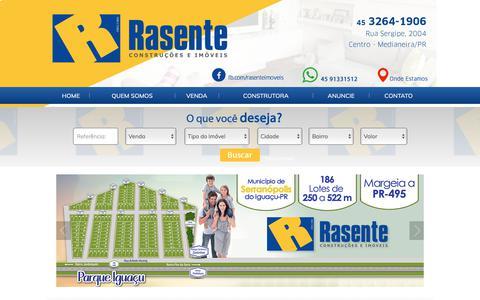 Screenshot of Home Page rasenteimoveis.com.br - Rasente Imóveis em Medianeira Paraná - captured Nov. 27, 2017