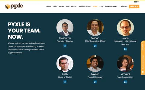 Screenshot of Team Page pyxle.net - Teams, Culture, Future | Who We Are | Pyxle International - captured April 4, 2018