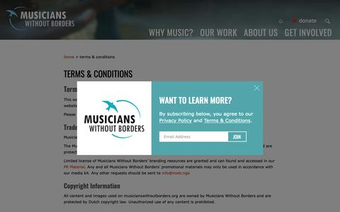 Screenshot of Terms Page musicianswithoutborders.org - Musicians Without Borders - War Divides, Music Connects » Terms & Conditions - captured Nov. 17, 2018