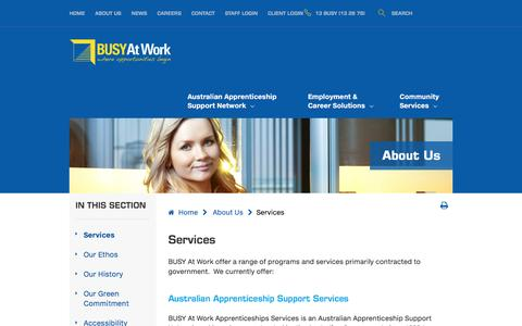 Screenshot of Services Page busyatwork.com.au - Services						- BUSY At Work - captured July 27, 2016