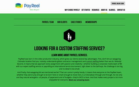 Screenshot of About Page payreel.com - About PayReel Custom Staffing Service - PayReel - captured Oct. 2, 2014