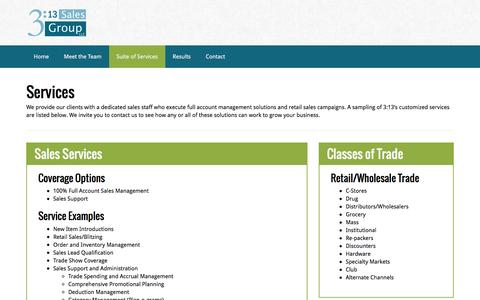 Screenshot of Services Page 313salesgroup.com - Suite of Services | 3:13 Sales Group - captured Feb. 24, 2016