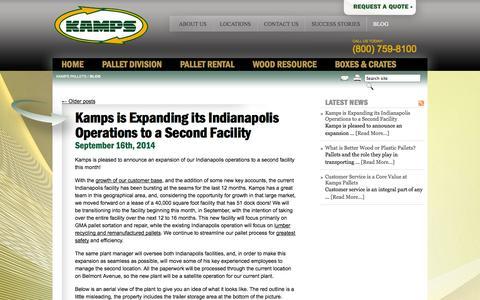 Screenshot of Blog kampsinc.com - Kamps Blog: Pallet Industry News & Updates - captured Oct. 6, 2014