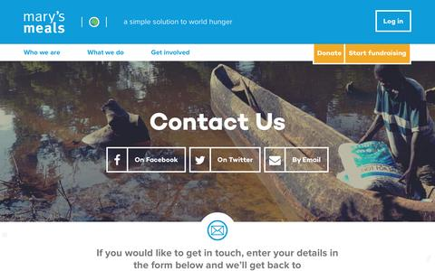 Screenshot of Contact Page marysmeals.org - Contact us | Mary's Meals - captured Dec. 5, 2015