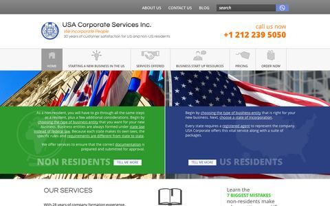 Screenshot of Home Page usa-corporate.com - Incorporate your new business as an LLC or corporation USA Corporate Services Inc. - captured Sept. 25, 2014