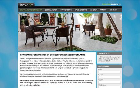 Screenshot of Home Page travel2.se - Boka företagsresor och konferensresor utomlands hos Travel2 - captured Nov. 19, 2018
