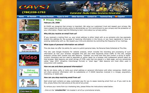 Screenshot of Privacy Page cavsi.com - Email Privacy Policy - captured Sept. 24, 2014