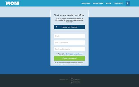 Screenshot of Signup Page moni.com.ar - Adelantos Personales Online | Moni - captured Jan. 31, 2016