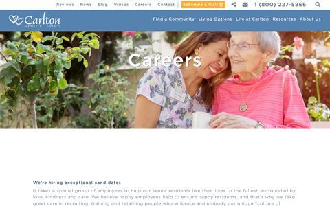 Screenshot of Jobs Page carltonseniorliving.com - Careers - Carlton Senior Living - captured July 16, 2018