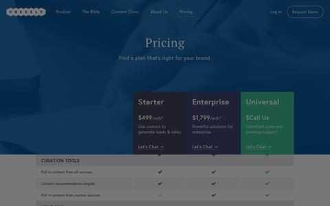 Screenshot of Pricing Page pressly.com - Pressly: Content marketing hubs for brand publishing and content curation. - captured July 3, 2015
