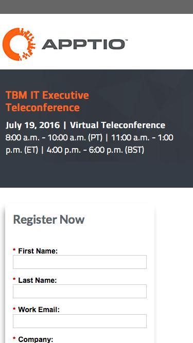 July TBM IT Executive Teleconference