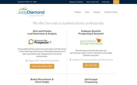 Screenshot of Trial Page judydiamond.com - Free Trial | Judy Diamond AssociatesJudy Diamond Associates, Inc. - captured Sept. 27, 2018