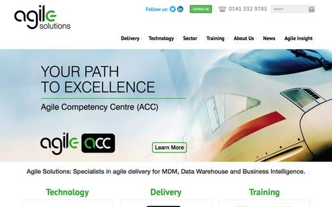 Screenshot of Home Page agilesolutions.co.uk - Data Integration and Business Intelligence Specialists - Agile Solutions - captured Feb. 5, 2016