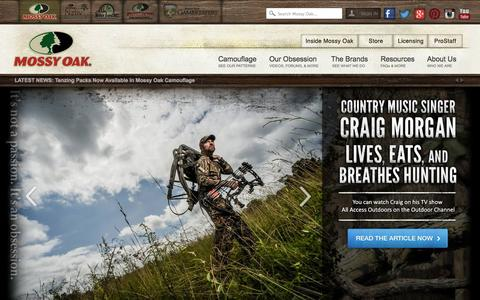 Screenshot of Home Page mossyoak.com - Mossy Oak - It's not a Passion It's an Obsession - captured Sept. 19, 2014