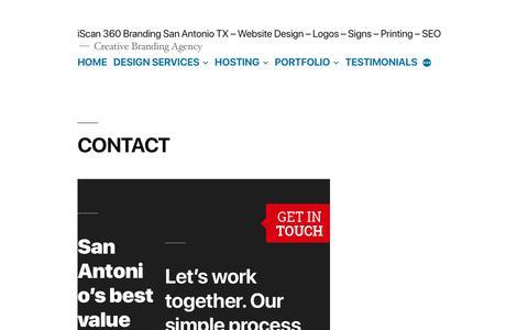 Screenshot of Contact Page iscan360.com - CONTACT - iScan 360 Branding San Antonio TX - Website Design - Logos - Signs - Printing - SEO - captured Feb. 19, 2020