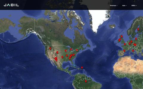 Screenshot of Locations Page jabil.com - Jabil Locations - captured Feb. 13, 2016