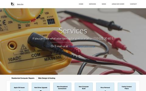 Screenshot of Services Page betasix.co.uk - Computer Repair Services | Beta Six - captured Feb. 14, 2016