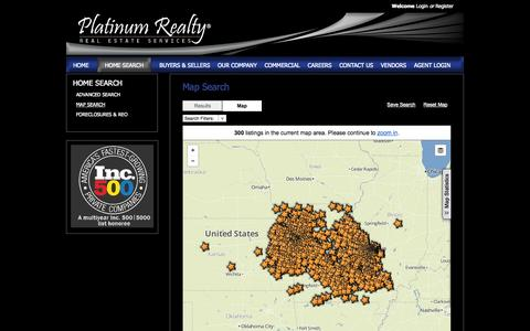 Screenshot of Maps & Directions Page movewithplatinum.com - Platinum Realty, Kansas & Missouri Map Home Search - captured Oct. 2, 2014