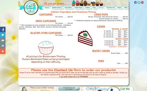 Screenshot of Pricing Page calliescupcakes.com - Callie's Cupcakes and Creations Pricing...life just got sweeter... - captured Oct. 1, 2014