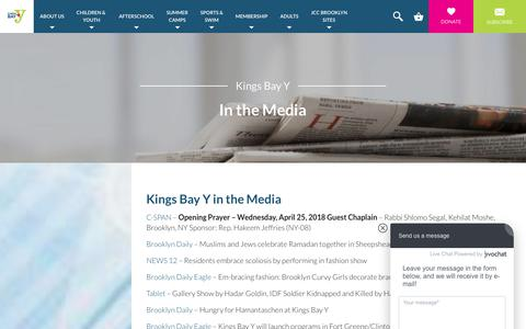 Screenshot of Press Page kingsbayy.org - In the Media - Kings Bay Y - captured Sept. 20, 2018