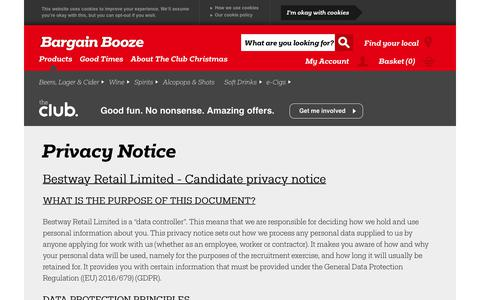 Screenshot of Privacy Page bargainbooze.co.uk - Privacy Notice - captured Dec. 12, 2018