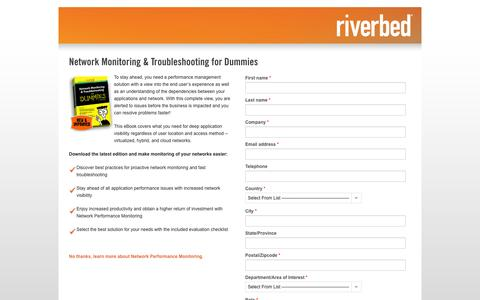 Screenshot of Landing Page riverbed.com - Contact Riverbed | Network Monitoring & Troubleshooting for Dummies | Riverbed - captured Oct. 27, 2014
