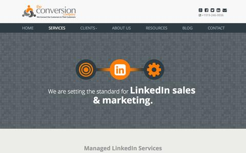 Screenshot of Services Page theconversioncompany.com - LinkedIn Marketing & Sales Programs I The Conversion Company - captured Oct. 27, 2014