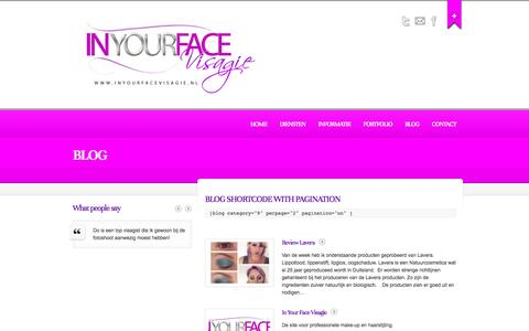 Screenshot of Blog inyourfacevisagie.nl - Blog  |  In Your Face Visagie | | Dominique Haveman - captured Sept. 30, 2014