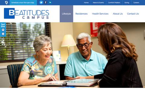 Screenshot of Services Page beatitudescampus.org - Services & Amenities at our Senior Community in Phoenix - captured Aug. 1, 2018