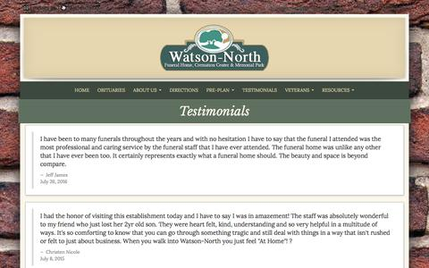 Screenshot of Testimonials Page watsonnorth.com - Watson-North Funeral Home | Winchester TN funeral home and cremation - captured Dec. 17, 2016