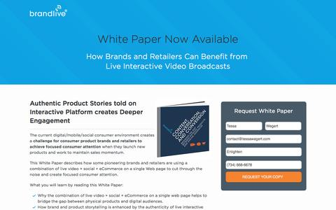 Screenshot of Landing Page yourbrandlive.com - Content, Conversation, and Conversion White Paper | Brandlive - captured April 4, 2016