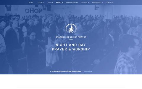 Screenshot of About Page orlandohop.org - Orlando House of Prayer | About - captured Oct. 18, 2018