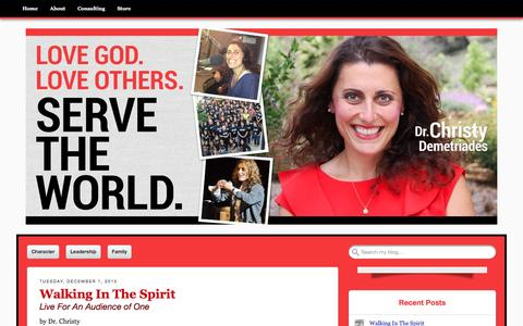 Screenshot of Home Page drchristyd.com - Christy Demetriades, Ph.D. | Serving With Love - captured Feb. 9, 2016