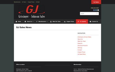 Screenshot of Blog gjsales.com - GJ Sales News | Industry Events | Grissinger Johnson Sales - captured Oct. 3, 2014
