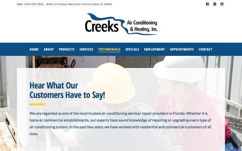 Screenshot of Testimonials Page creeksair.com - Testimonials | Creeks Air Conditioning & Heating, Inc - captured Aug. 31, 2017