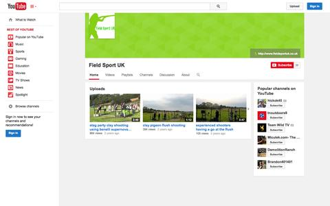 Screenshot of YouTube Page youtube.com - Field Sport UK  - YouTube - captured Oct. 22, 2014