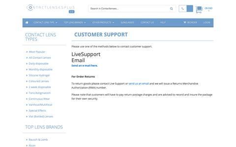 Screenshot of Support Page contactlensesplus.ca - Customer Support :: Buy Cheap Contact lenses direct from Canada :: Buy Cheap Contact lenses direct from Canada - captured Dec. 1, 2018