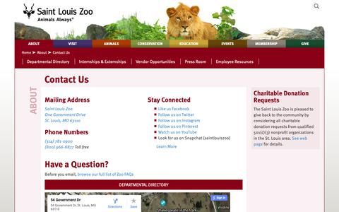 Screenshot of Contact Page stlzoo.org - Contact Us :: Saint Louis Zoo - captured Oct. 2, 2018