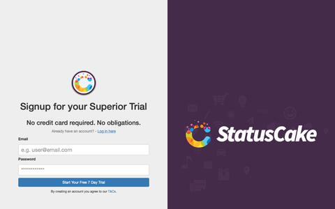 Screenshot of Trial Page statuscake.com - StatusCake - Register for your Free Trial! - captured Oct. 26, 2018